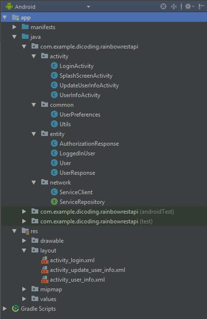 Struktur kelas rainbow android apps