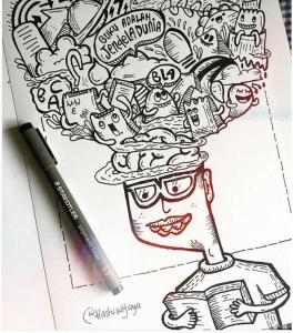 Doodle programmer aplikasi inklusif difabel hitam putih