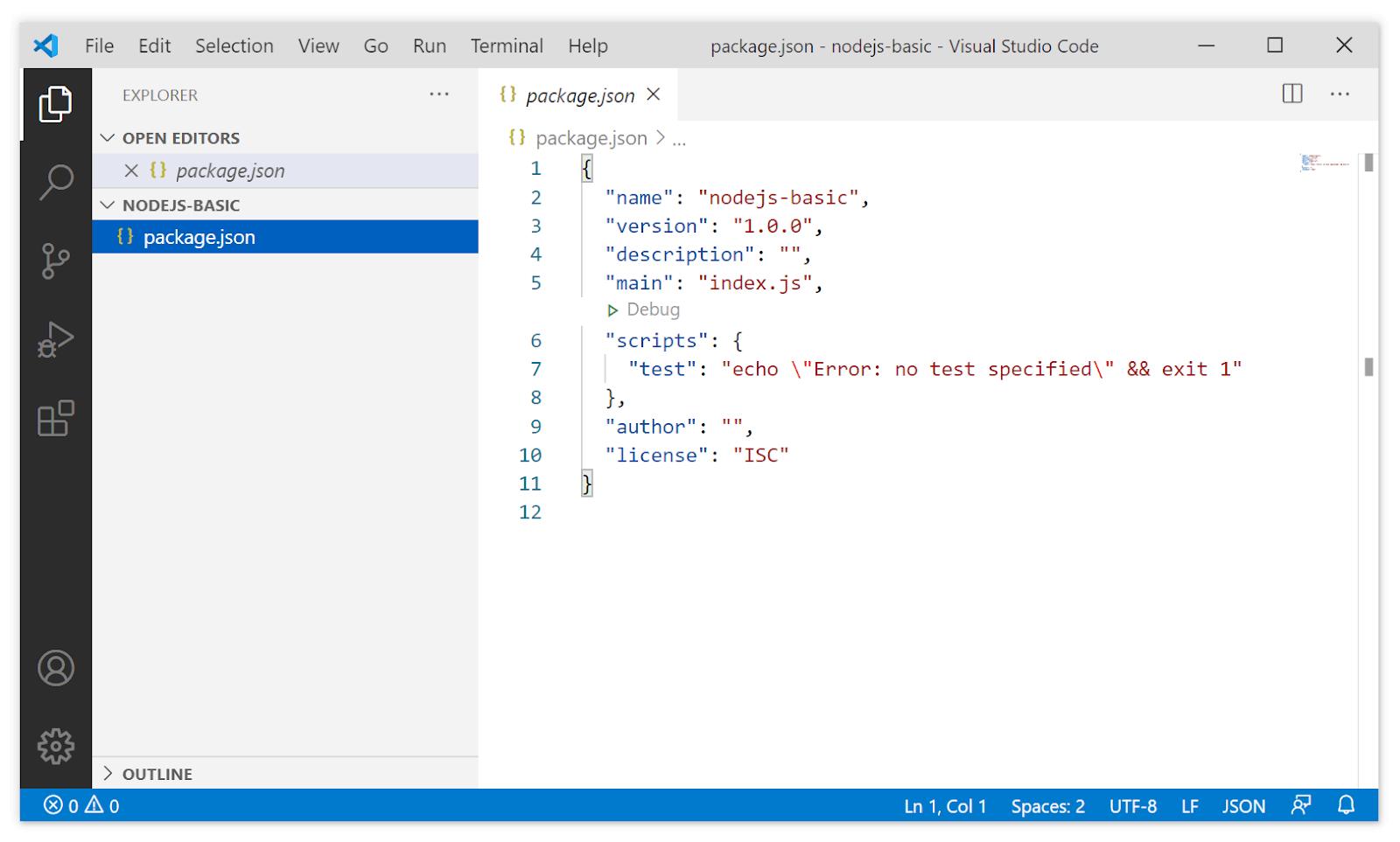 membuat proyek Node.js baru langkah 5