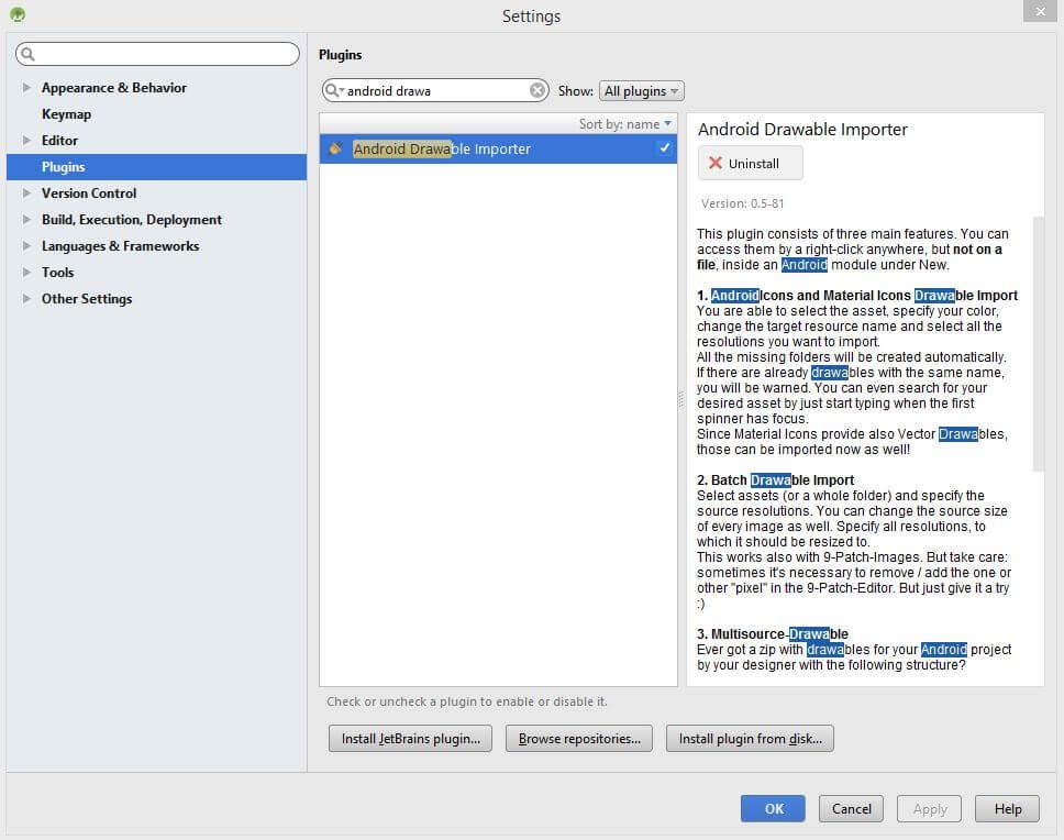 import icon di Android Studio - Drawable importer