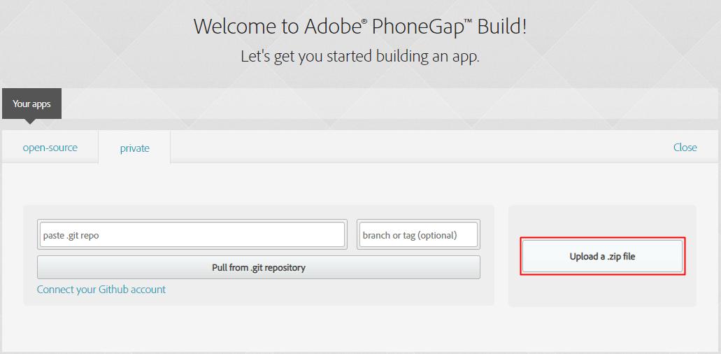 Dashboard PhoneGap Build
