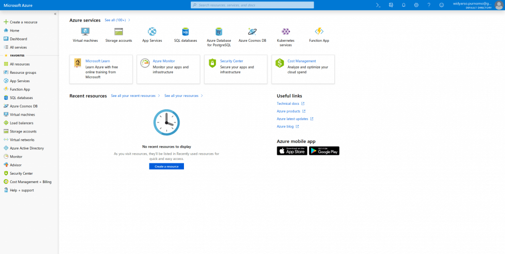 halaman portal Azure
